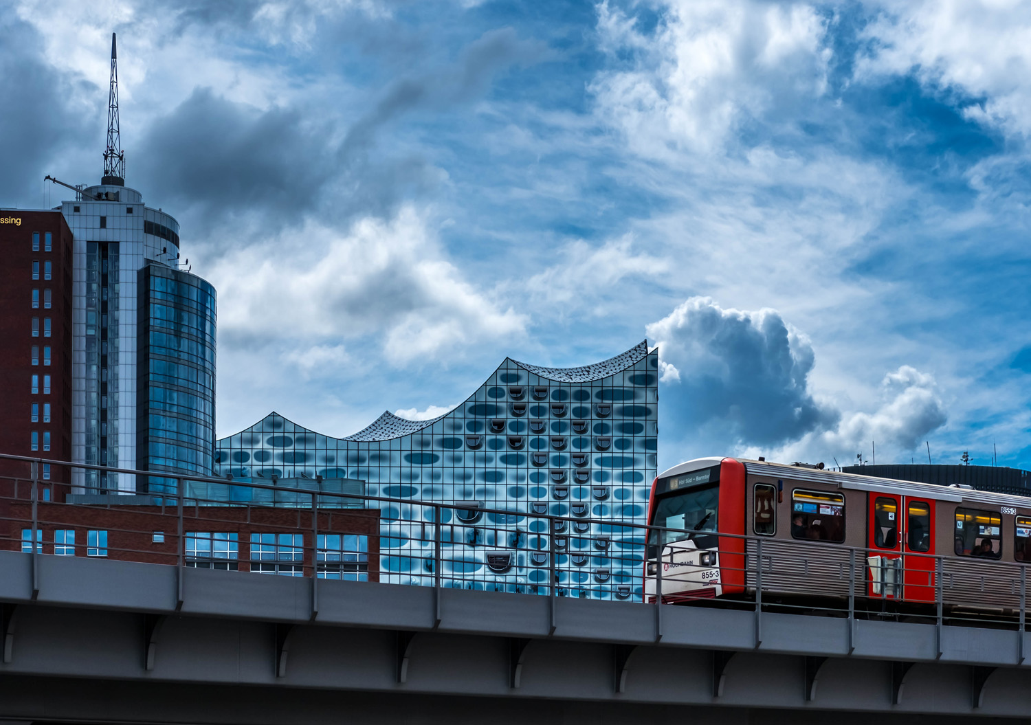 Berlin skyline with a train and futuristic buildings