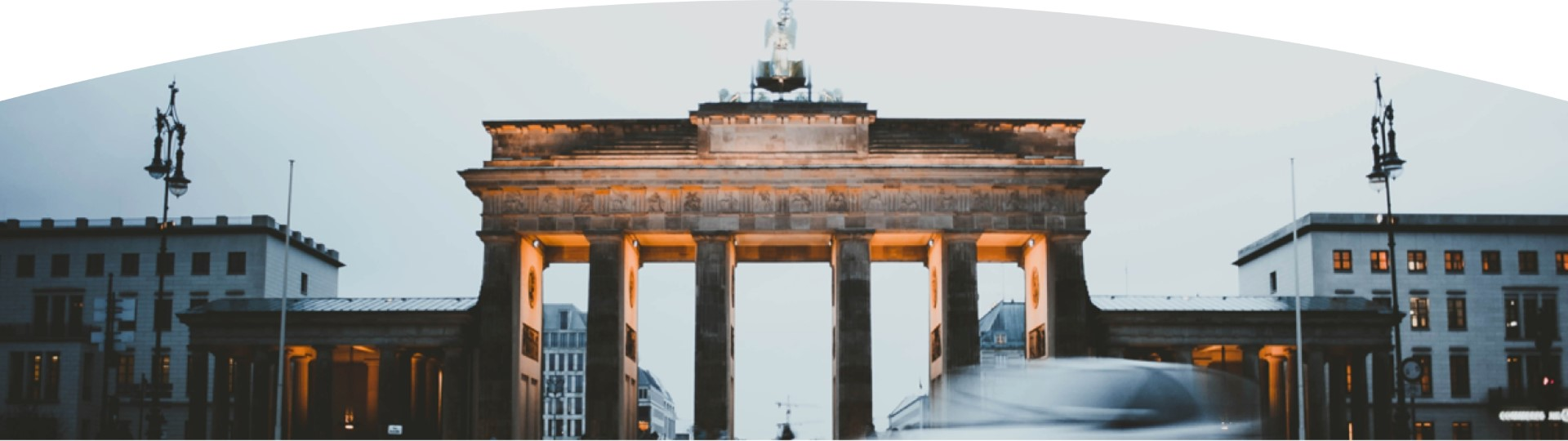 The Brandenburg gate seen at night in Berlin