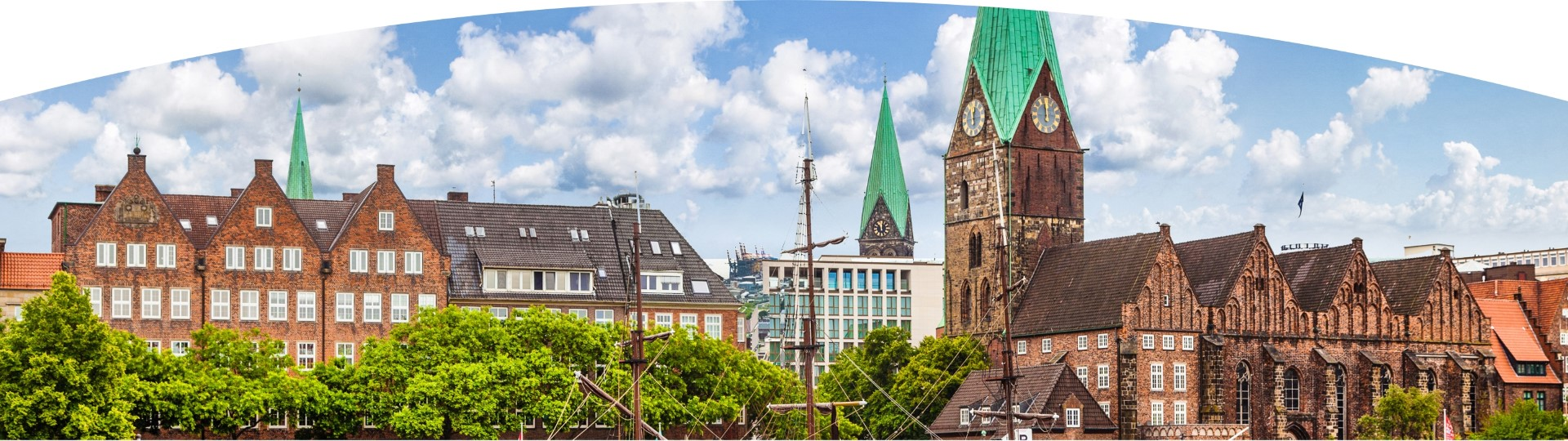 Old historic town with view of St.Martin church in Bremen