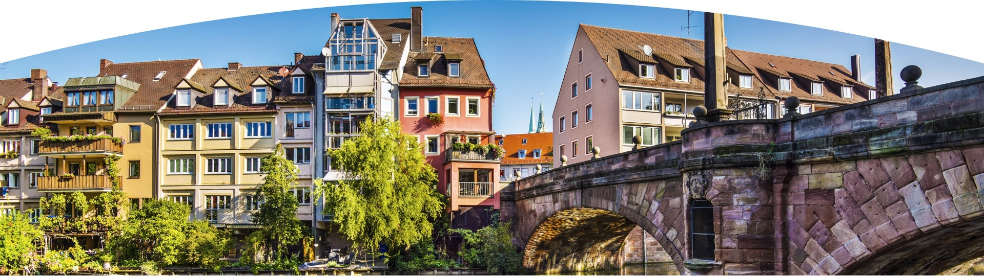 Old brigde with scenic riverside view in Nuernberg
