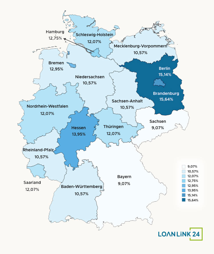 A map of Germany showing the maximum closing costs of buying a property in different German states and cities.